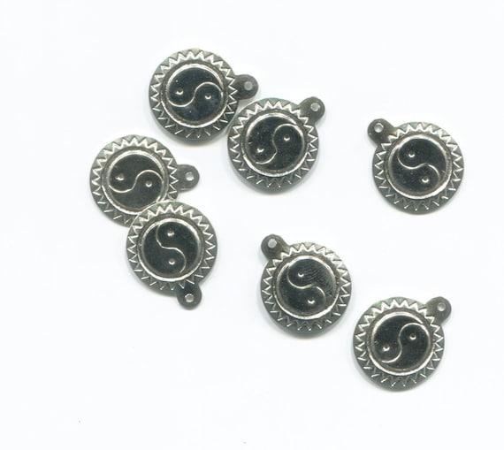 16mm ying yang yin yang charms sun pendants silver metal jewelry making supplies lot