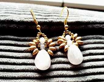 Gemstone goldfilled rose quartz earings