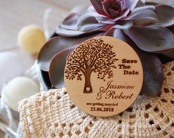 Save the Date Magnet Wood Wedding Invite Rustic Wedding Invitation Rustic Save the Date Wood Save the Date Tree of Life Wood Magnet set Free