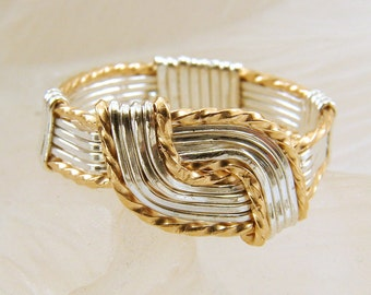 Mixed Metal Sterling Silver and Goldfilled Wire Wrapped Hug Ring - Any Size, BiMetal Ring
