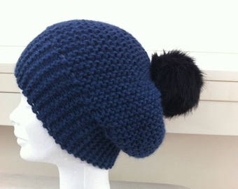 Blue alpaca wool Cap jeans with tassel fur