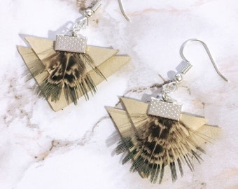 Leather + Feather Statement Earrings
