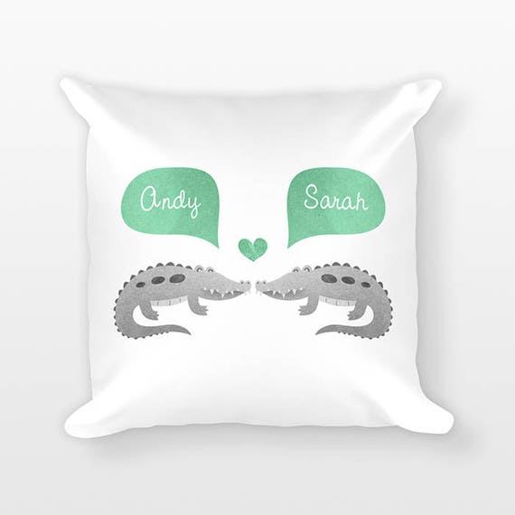 CROCODILE Pillow, Alligator Couple Pillow, Personalized Pillow, Couples Gift, Love Pillow, Custom Throw Pillow, Decorative Pillow for Bed