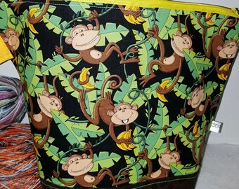 Swinging from the Trees Monkey Jungle Madness, Medium or Large Wedge Project Bag,  Choice of Zipper or Drawstring, Tote,Banana