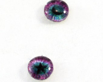 6mm Fantasy Star and Moon Glass Eye Cabochons - Taxidermy Eyes for Doll or Jewelry Making - Set of 2