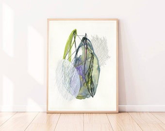 """Abstract Art Original Art Abstract Wall Art on Paper Living room wall art Modern Watercolor Green and White Watercolour  12 x 16"""""""