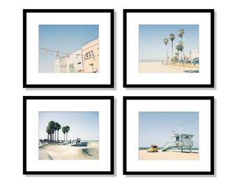 Venice Beach, Los Angeles Photography, Beach Decor Wall Art, Set of 4 Prints, California, Color or Black & White