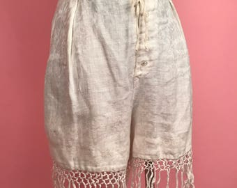 Brocade off-white bloomers with fringe S