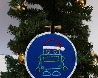 Hand embroidered Christmas ornament. Robot embroidery. Cute Xmas tree decorations. Nerd gifts. Nerdy art. Geek decor. Kids christmas Holiday