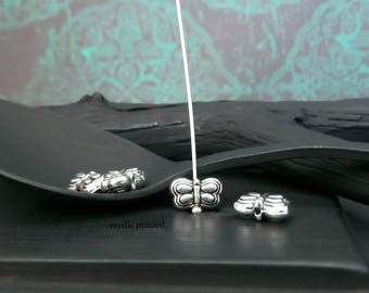 Antique Silver Finish Pewter Bohemian Hippie Metal Puff Butterfly Bead - 8x5mm - Pkg. 8