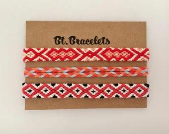 Set of 2 friendship bracelets straps friendshipbracelets red/white/black 5.00