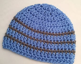 Boys Newborn Baby Beanie Ready To Ship Boys Hat Blue Gray Crochet Baby Beanie Baby Shower Gift Baby