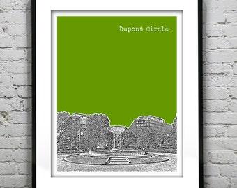 Dupont Circle Washington DC Skyline Poster Art Print