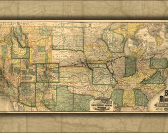 Poster, Many Sizes Available; Map Of Burlington & Missouri River Railroad 1882