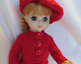 Hand Knit Sweater and Beret Set, REDUCED to 15.00 Bright Red Two Piece Set, Spring Wear, Casual Wear, Everyday Wear,Fun Set