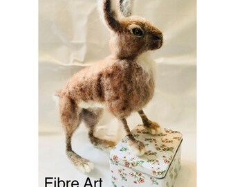Needle Felted Hare handmade wool sculpture unique ooak