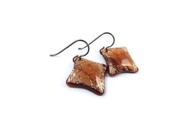 Copper rhombus drop dangle earrings - Hypoallergenic pure titanium and resin earrings
