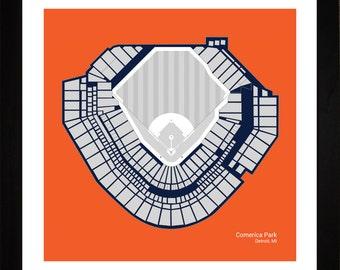 Comerica Park, Detroit Tigers, Stadium, Seating Art Print, Baseball Gift, 16x16, SDETB1616