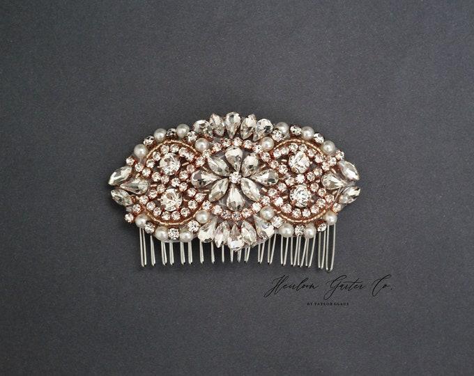 Wedding Hair Comb, Pearl and Rhinestone, Bridal Headpiece, Rhinestone Hairpiece, Bridesmaid, Hair Accessory, 55RG