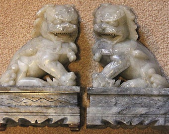 Vintage Soap stone set of Temple Lions / Foo Dogs