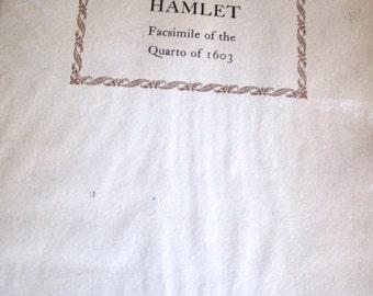 SALE********Shakespeare's Hamlet Facsimile of the Quarto of 1603 published 1960