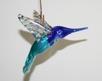 Hand Blown Glass Hummingbird Ornament/Suncatcher - Iridescent Teal Blue over White with Cobalt Blue Head