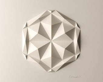 White Geometric Wall Decoration-Relief-Folded Paper Crystal Mosaic-Modern Geometric Abstract Sculpture-Created by Kubo Novak-DodecaV1