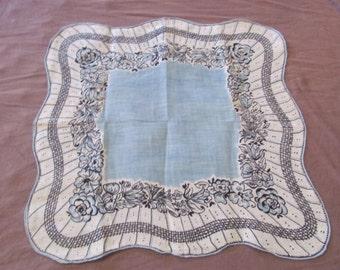 Hankie Beautiful Blue White Floral Cotton Hankie Handkerchief -  - Unused