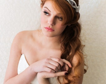 Bridal Headband. White & Silver Wedding Headband. Lace Crystal Headband {Olga}