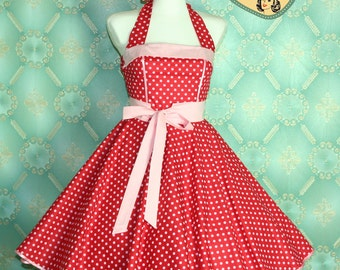 50's vintage dress full skirt in red light pink polka dots perfect for a petticoat Tailor Made