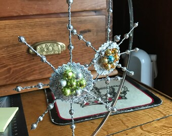 Wire and Mercury Glass Snowflake Ornaments (2)