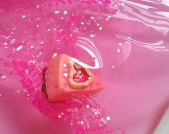 Clear Pink Slime - Glitter Slime - Strawberry Pie Charm Slime - Scented Slime