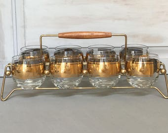 Mid Century Roly Poly Glasses With Caddy / Set of Eight  Rocks Glasses /  Vito Bari Coatof Arms Glasses / Vintage Barware