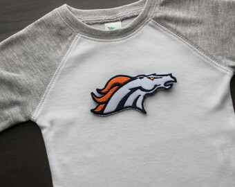 Denver Broncos baby onesie, Broncos inspired raglan bodysuit, baby shower gift