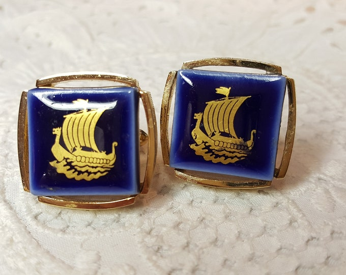 Vintage Cuff Links Royal Copenhagen Blue Gold Viking Ship