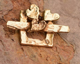 Chunky Square Toggle adorned with Hearts, CL-456 and 453, Gold Bronze Clasp