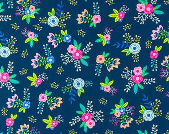 Navy Blue floral apparel fabric  quilting apparel cotton  Fat Quarter, 1/2 yard or by the yard   fabric  cotton fabric