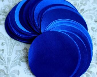 30 pcs 3 inches Hand cut Fabric Circles -  Royal Blue - Bridal Satin
