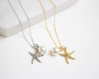 Starfish and Pearl Necklace in gold, Bridesmaid necklace, Birth stone necklace, Bridesmaid necklace, Wedding necklace, Mothers day gift