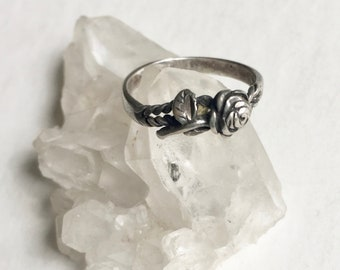 vintage sterling rose ring, size 7