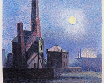 Factory by Moonlight - Maximilien Luce hand-painted oil painting reproduction,buildings along a quiet street scene with moon night landscape