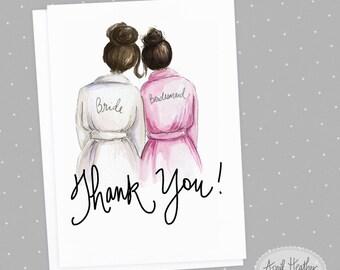 Thank You! Bridesmaid Card: PDF Brunette Bride and Brunette Bridesmaid, Thank you card PDF printable card
