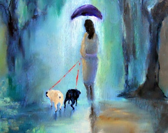 """Pug Art Print of an original oil painting / """"Just Before The Rainbow"""" /8"""" x 10"""" / Dog Art/Dog Lover"""