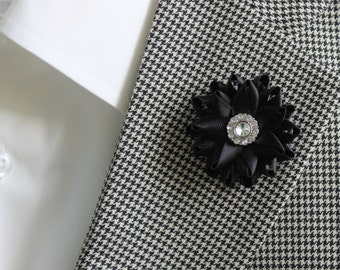Mens Lapel Flower, Mens Boutonniere, Black Boutonniere, White Flower Boutonniere, Mens Lapel Pin, Red Lapel Flower, Mens Flower Lapel Pin