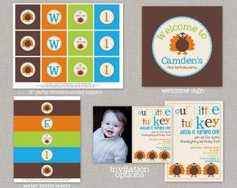 Little Turkey Birthday, Little Turkey Birthday Decorations, Little Turkey Party, Printable