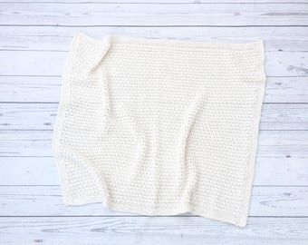 knit baby blanket | cream cotton blanket | hand knit blanket | gender neutral blanket | baby shower gift | soft baby blanket