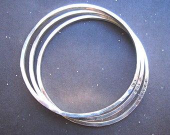 3 Sterling Silver Hammered Bangles