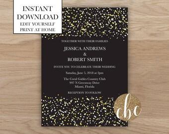 DIY Wedding Invitation/Instant Digital Download/Glitter