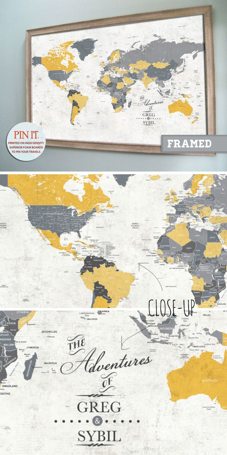 FRAMED World Map with Pins World Travel decor Map for Groom