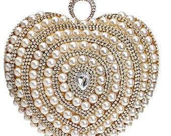 Pearl / Rhinestones Evening Bag Crystals